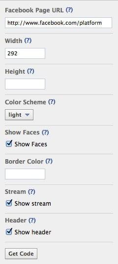 Inställningar för Facebook Like Box